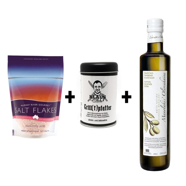 Tapas-Topping-Set - Ölivenöl + Grillpfeffer + Flockensalz = lecker!