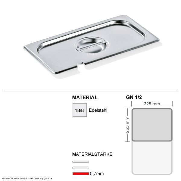 Gastronorm Deckel GN 1/2 - mit Löffelaussparung -  GN90 - 18/8 Edelstahl - 0,7 mm