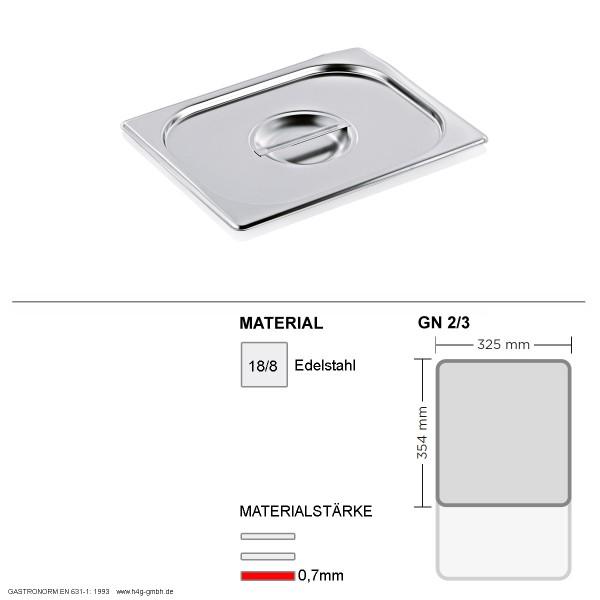Gastronorm Deckel GN 2/3 -  GN90 - 18/8 Edelstahl - 0,7mm