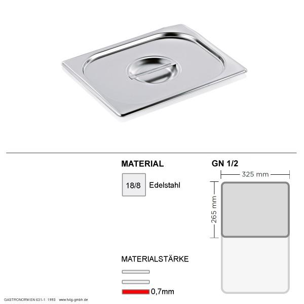 Gastronorm Deckel GN 1/2 - GN90 - 18/8 Edelstahl - 0,7mm