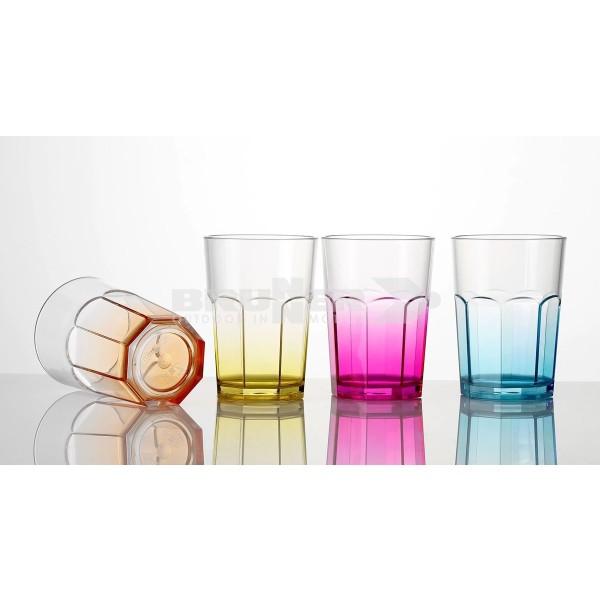 Trinkgläser OCTOGLASS - 4er Set - farbiger Boden - bruchfestes Polycarbonat