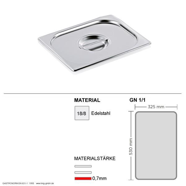Gastronorm Deckel GN 1/1 -  GN90 - 18/8 Edelstahl - 0,7mm