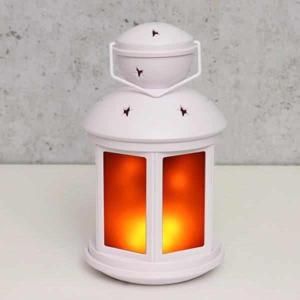 LED Laterne weiß - Bewegter Flammeneffekt - Batteriebetrieb