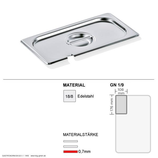 Gastronorm Deckel GN 1/9 - mit Löffelaussparung -  GN90 - 18/8 Edelstahl - 0,7mm