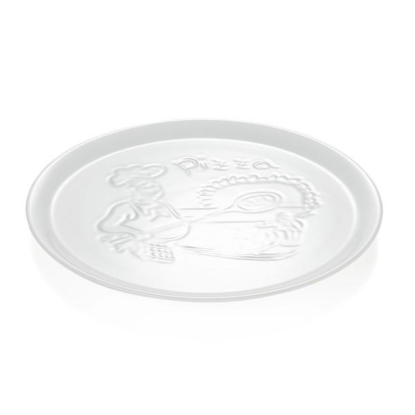 Pizzateller 30cm - weißes Porzellan - mit Prägung - spülmaschinenfest