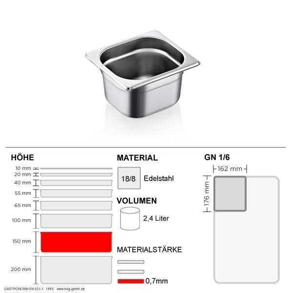 Gastronorm Behälter GN 1/6 - 150mm - GN90 - 18/8 Edelstahl - 0,7mm