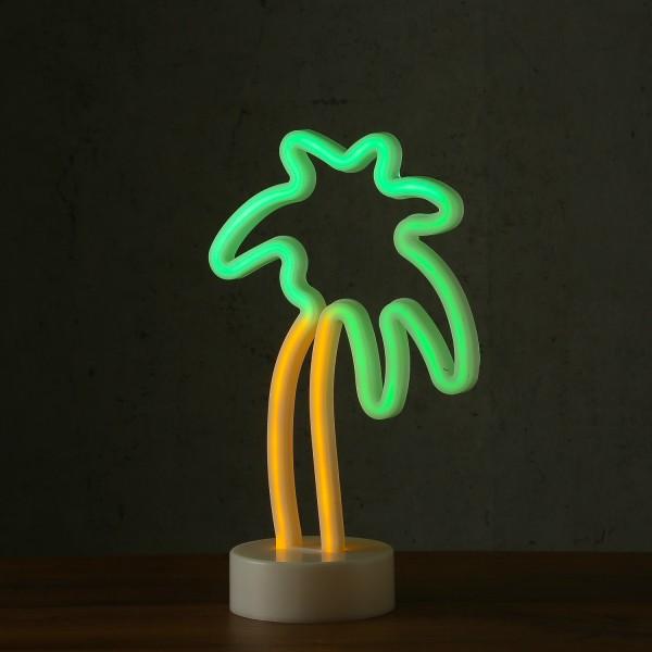 LED Neonlampe PALME - Silhouette Dekoleuchte - Batteriebetrieb - H: 29cm - stehend - gelb, grün