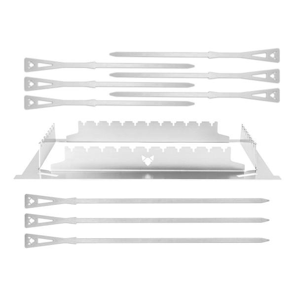 FENNEK - Grillspießset für FENNEK 2.0 - Edelstahl - Gestell, 6 kurze, 3 lange Spieße