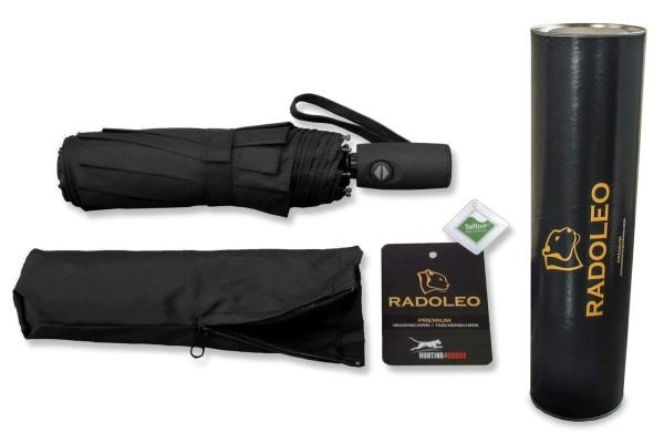 RADOLEO® Schwarzer Taschenschirm Geschenkbox | Automatik | Windstabil bis 140 km/h | Teflon