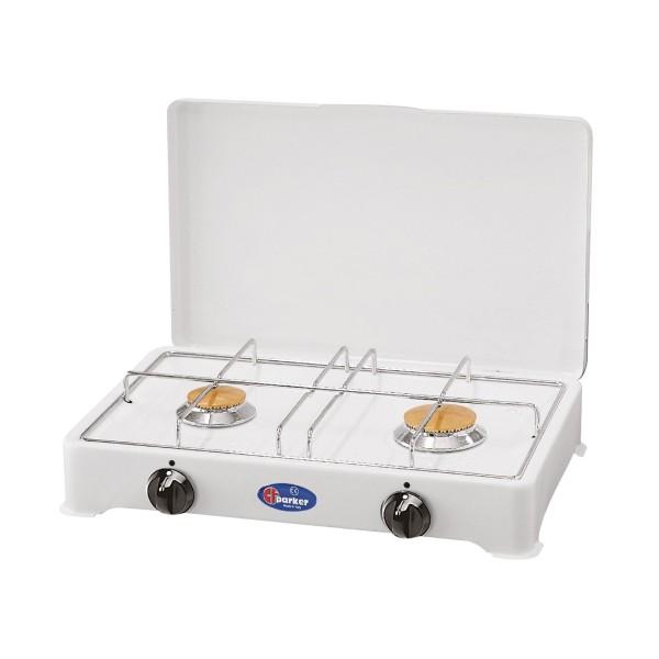 PARKER Zweiflammiger Kocher - weiß lackiert - Zündsicherung - 2,3+1,65kW
