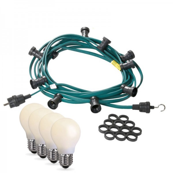 Illu-/Partylichterkette 20m | Außenlichterkette | Made in Germany | 30 x bruchfeste, opale LED Lampen