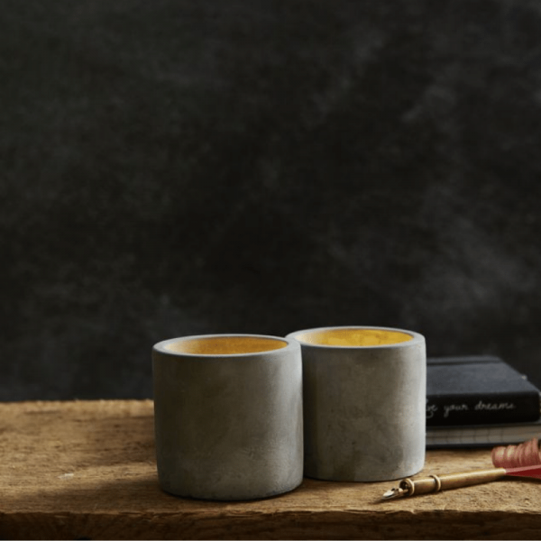 """LED Kerze """"Cemmy"""" - Echtwachs - flackernde warmweiße LED - H: 7,5cm - Timer - grau - 2er Set"""