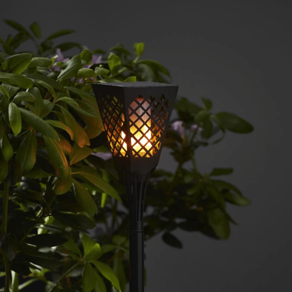 "LED Solar Fackel ""Flame"" - LED mit bewegtem Feuereffekt - H: 79cm - Dämmerungssensor"