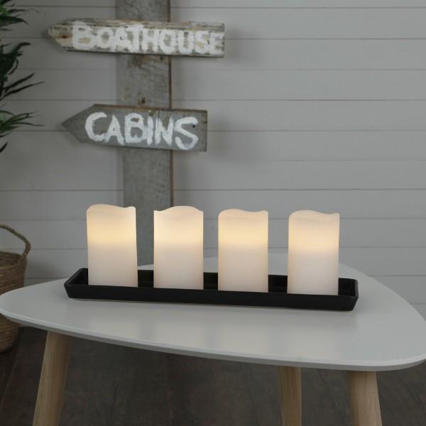 "LED Kerzenset ""May"" - Echtwachs - flackernde LED - Timer - H: 12,5cm, D: 7,5cm - weiß - 4er Set"
