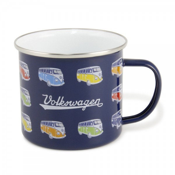 "VW Collection Emaille Tasse ""BULLI PARADE BLUE"" - 500ml - mit Edelstahlrand"