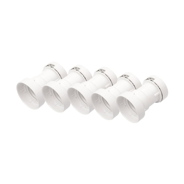 ILLU Fassung E-27 Schraubgewinde - weiß - max 40W für H05RNH2-F1,5 und 2,5 - 5er Set