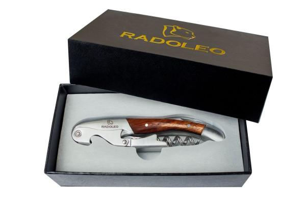 RADOLEO® Kellnermesser PADAUK - Korkenzieher & Weinöffner | Profi Sommeliermesser & Flaschenöffner