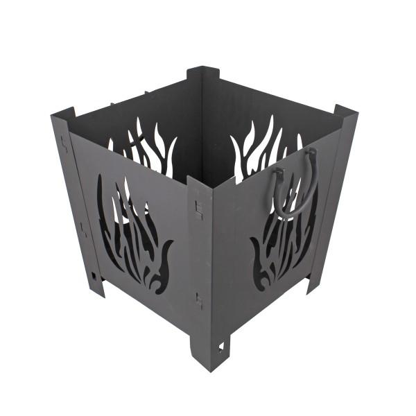 Feuerkorb quadratisch 38x38x38cm - beschichtetes Metall - Griffe
