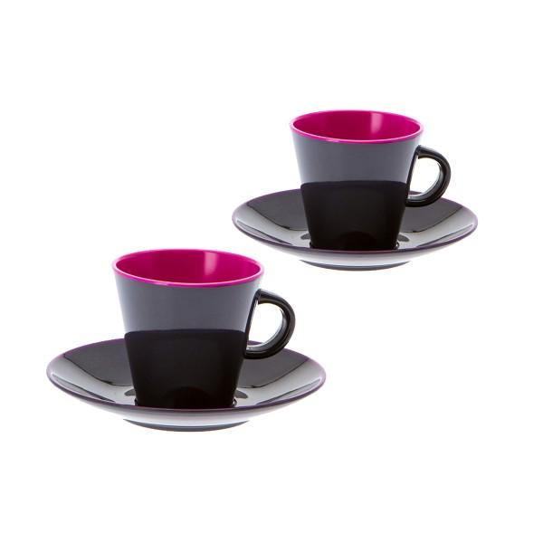 """GIMEX GreyLine """"brombeer"""" - Espresso Set 2 Personen - bruchfestes Melamin Campinggeschirr"""