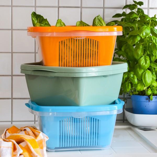 Schüssel mit Abtropfsieb - 2in1 - Für Salat, Obst und Gemüse - 27 x 28 x 13cm - orange