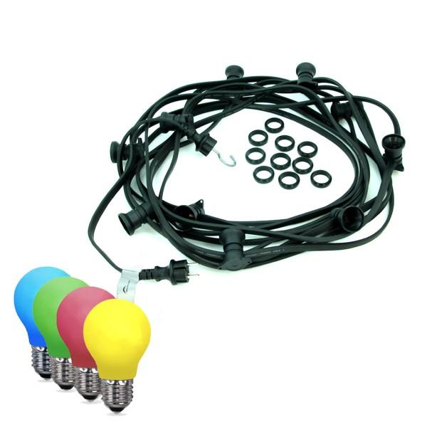 ILLU-Lichterkette BLACKY - 5m - 5xE27 | IP44 | bunte LED Tropfenlampen | SATISFIRE