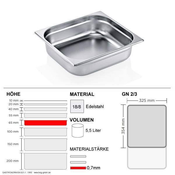 Gastronorm Behälter GN 2/3 - 65mm - GN90 - 18/8 Edelstahl - 0,7mm