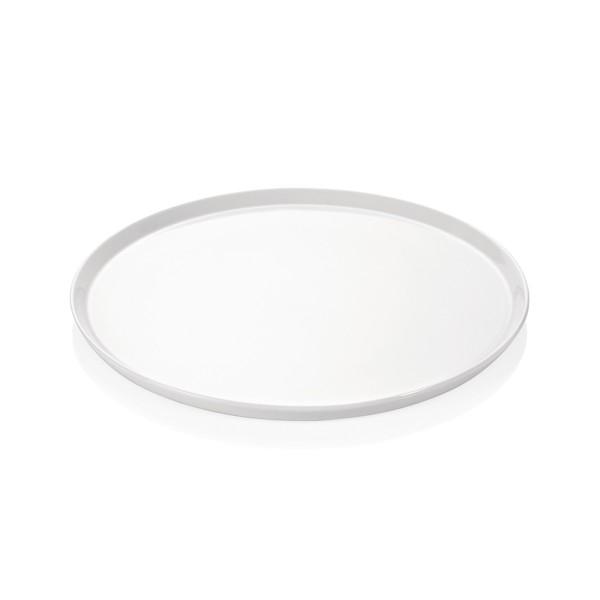 Pizzateller 28cm flach - weißes Porzellan - spülmaschinenfest