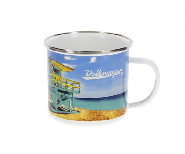 "VW Collection Emaille Tasse ""BEACHLIFE"" - 500ml - mit Edelstahlrand"