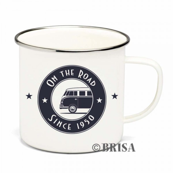 "VW Collection Emaille Tasse ""ON THE ROAD"" - 500ml - mit Edelstahlrand"