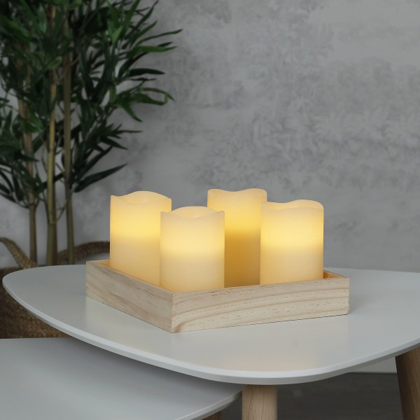 "LED Kerzenset ""May"" - Echtwachs - flackernde LED - Timer - H: 12,5cm, D: 7,5cm - creme - 4er Set"