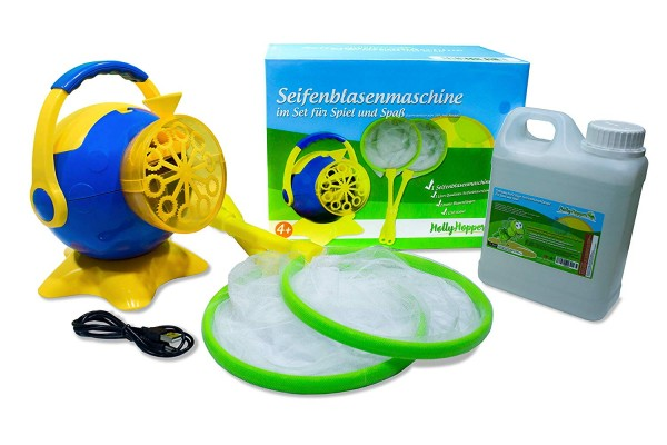 HOLLYHOPPER® Seifenblasenmaschinen Set mit 1L Qualitäts-Fluid, 2x Fang-Kescher