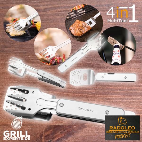 RADOLEO® Grill-Multi-Tool GENIUS POCKET Grillbesteck | Zange, Wender, Gabel, Flaschenöffner - 4in1