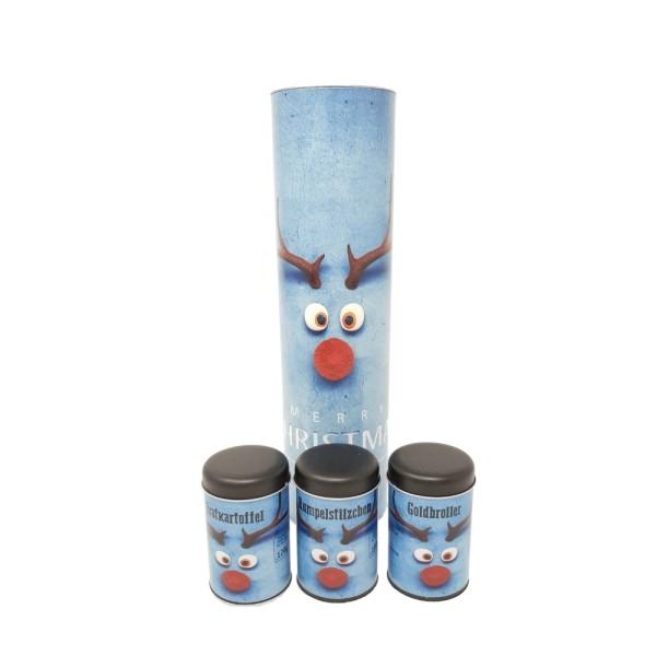 Klaus Grillt Geschenkset Nr. 2 - 3 Streudosen im Weihnachtsdesign - Weihnachtsset zum Verschenken
