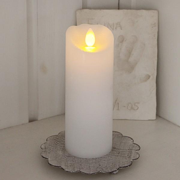 "LED Kerze ""Glow"" - Echtwachs - gelbe flackernde LED - Timer - H: 15cm, D: 5,5cm - weiß"