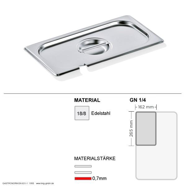 Gastronorm Deckel GN 1/4 - mit Löffelaussparung -  GN90 - 18/8 Edelstahl - 0,7mm