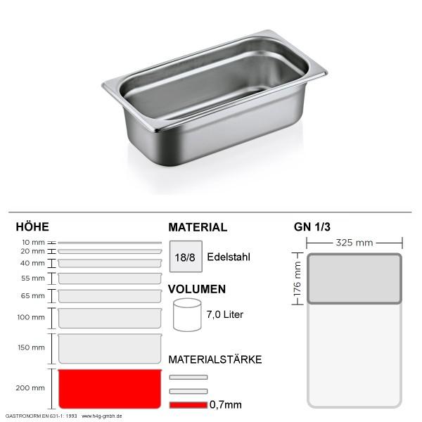 Gastronorm Behälter GN 1/3 - 200mm - GN90 - 18/8 Edelstahl - 0,7mm