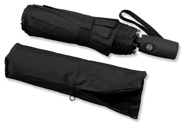 RADOLEO® Schwarzer Taschenschirm | Premium Auf-Zu-Automatik | bis 140 km/h | Teflonbeschichtung | inkl. Tasche mit Reißverschluss - 100% Polyester