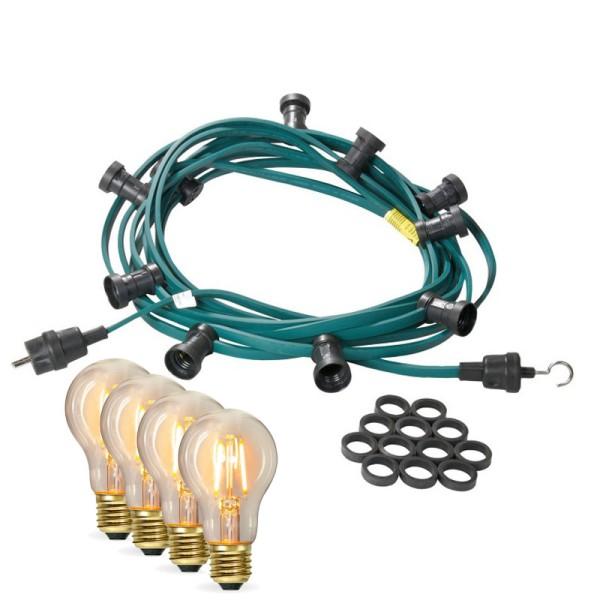 Illu-/Partylichterkette 40m | Außenlichterkette | Made in Germany | 60 x Edison LED Filamentlampen