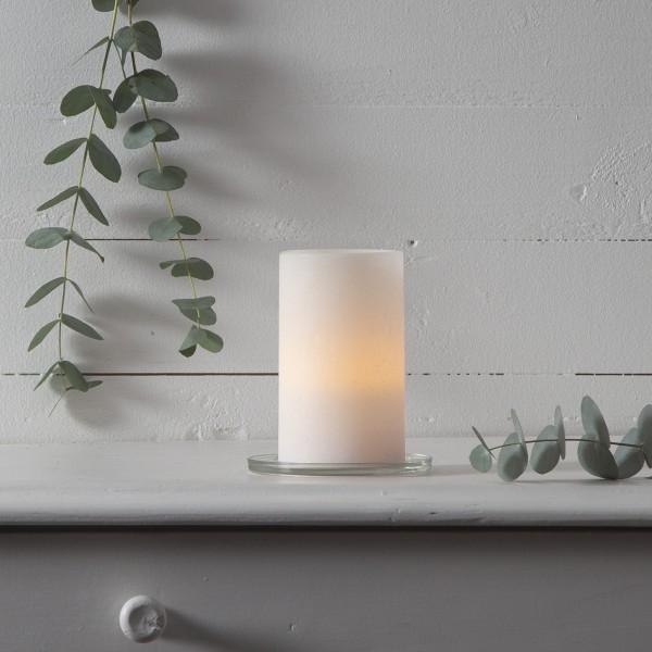 "LED Kerze ""Sharp"" - Echtwachs - gelb flackernde LED - Timer - H: 12,5cm, D: 7,5cm - creme"