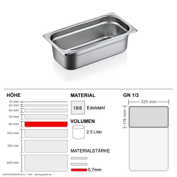 Gastronorm Behälter GN 1/3 - 65mm - GN90 - 18/8 Edelstahl - 0,7mm