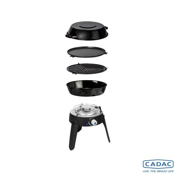 CADAC SAFARI CHEF 2 BBQ LP - 50mBar - inkl. Topfständer, Grillrost, Grillplatte, Pfanne/Deckel