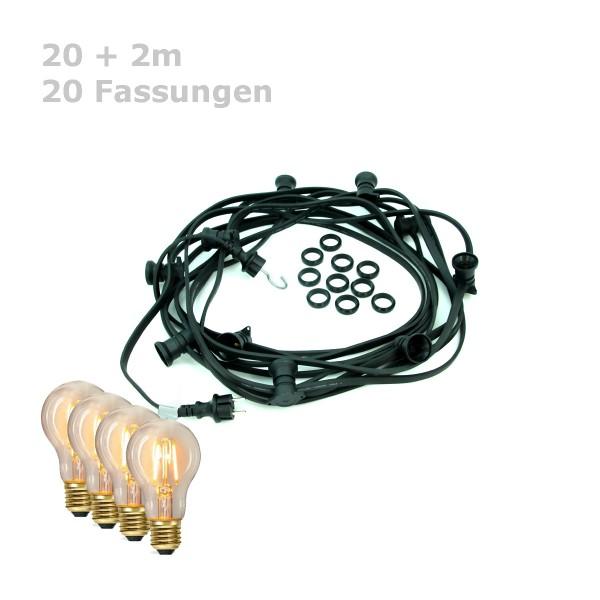 ILLU-Lichterkette BLACKY - 20m - 20xE27   IP44   warmweiße EDISON LED Filamentlampen   SATISFIRE