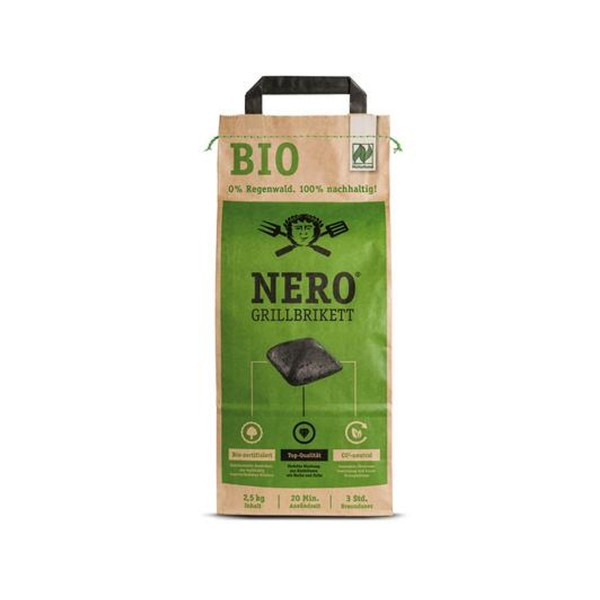 NERO BIO Grill Holzkohle Briketts - 2,5kg Sack - Garantiert ohne Tropenholz - Holz aus Deutschland