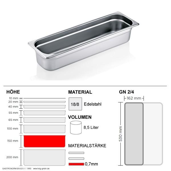 Gastronorm Behälter GN 2/4 - 150mm - GN90 - 18/8 Edelstahl - 0,7mm
