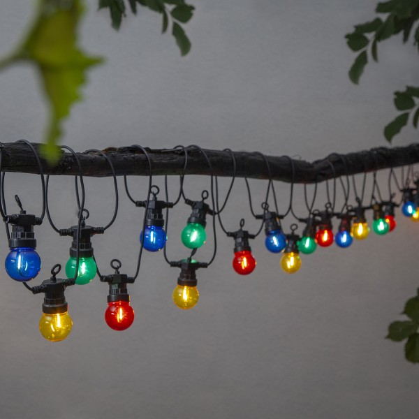 LED Lichterkette CIRCUS - 20 kleine bunte Kugeln - Filament LED - 8,8m - inkl.Trafo - outdoor