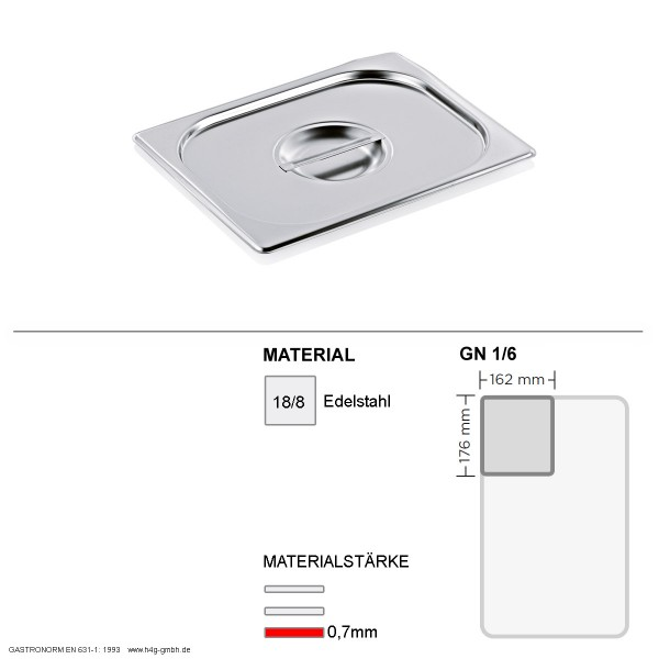 Gastronorm Deckel GN 1/6 -  GN90 - 18/8 Edelstahl - 0,7mm