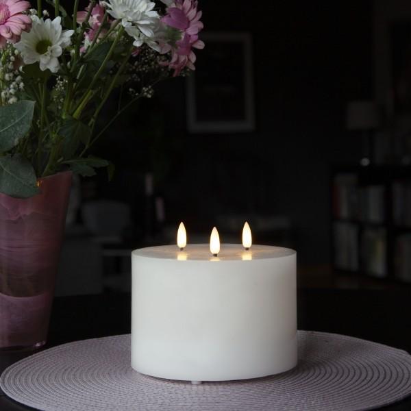 XXL LED Teelicht - Echtwachs - 3 Flammen - H: 13cm, D: 15cm  - Batteriebetrieb - Timer - weiß