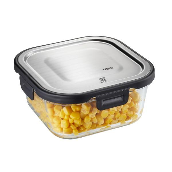 Frischhaltedose MILO - Borosilikatglasbehälter mit Edelstahldeckel - quadratisch - 800ml