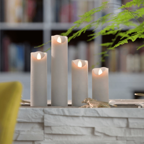 LED Wachskerze SHINE schmal | grau | gefrostet | D: 5cm H: 22,5cm | fernbedienbar | Timer