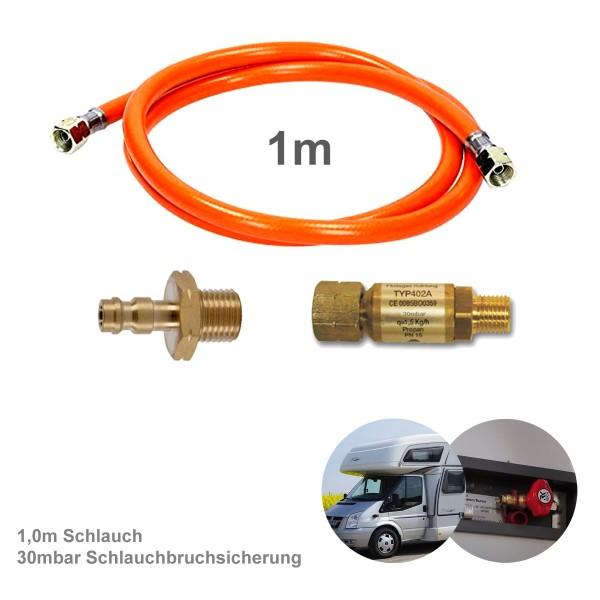 Wohnmobil Anschluss KIT 100cm - Schnellkupplung, Schlauchbruchsicherung 30mbar - Adapter